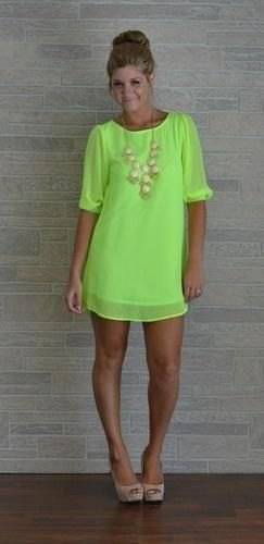 light green half-heated mini shift dress with pink heels