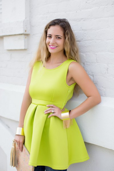 green plastic as a fit and flare mini dress