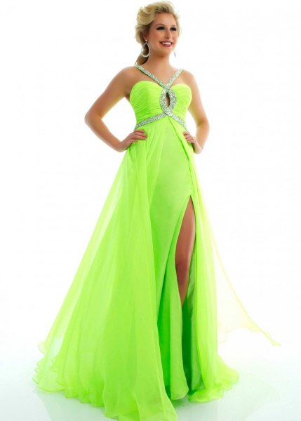 green and silver sequin chiffon high split maxi flowy dress