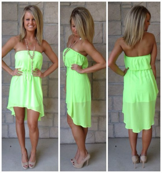 from the shoulder mini high low chiffon dress with pink heels with open toe