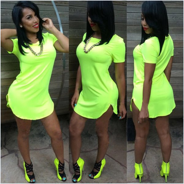 lime green t-shirt dress with matching heels with boots