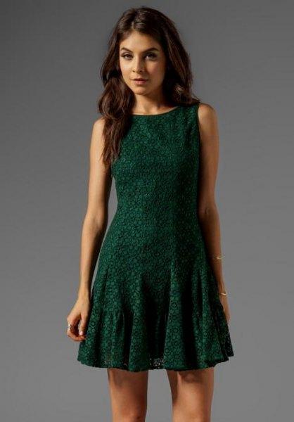 dark green sleeveless mini skater dress