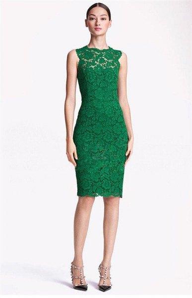 green sleeveless bodycon midi lace dress