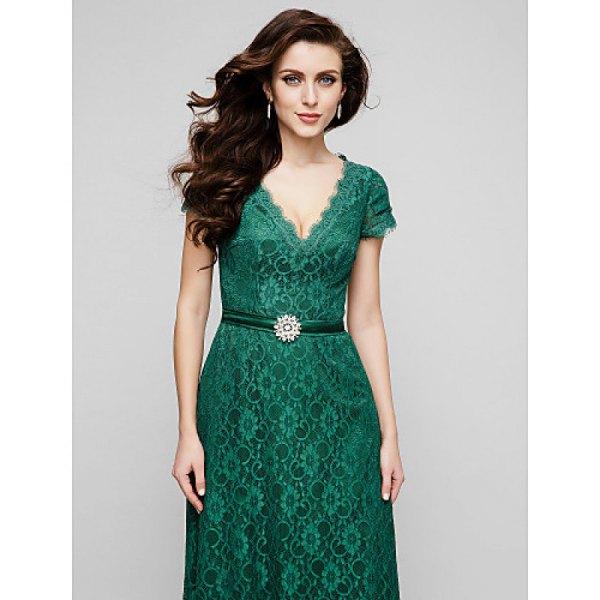 deep v-neck belt midi slightly flared dress