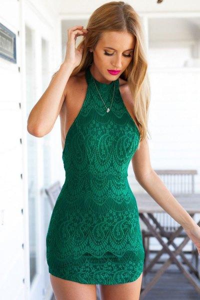 green mini bodycon halter lace dress