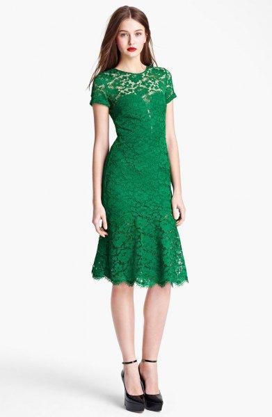 fit and flush midi peeled edge lace dress