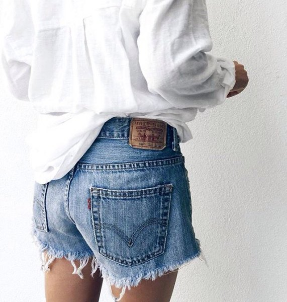 white boyfriend shirt with blue cut denim shorts