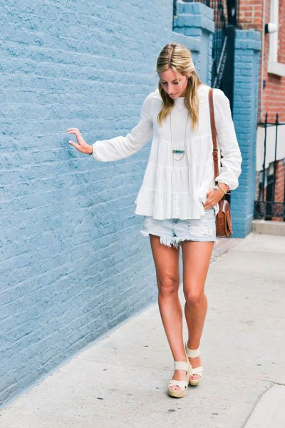white chiffon peplum blouse with light blue jeans shorts