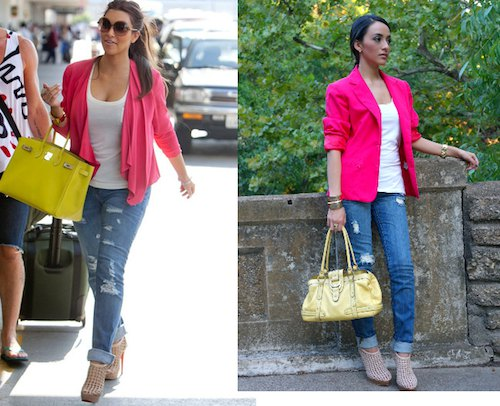 pink blazer with white top with scoop neck and ripped jeans