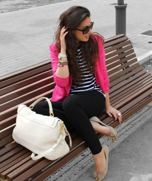 black and white striped long sleeve t-shirt and light pink flats