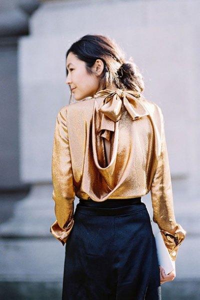 gold cabbage gorgeous back metallic blouse with black mini skirt