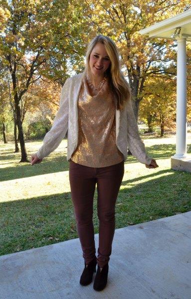 gold metallic cowl blouse with pearl blazer