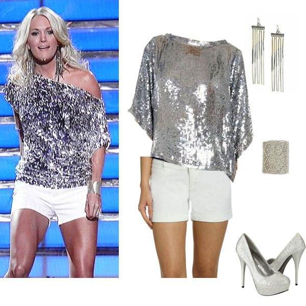 silver sequin metallic shoulder shirt with white mini shorts