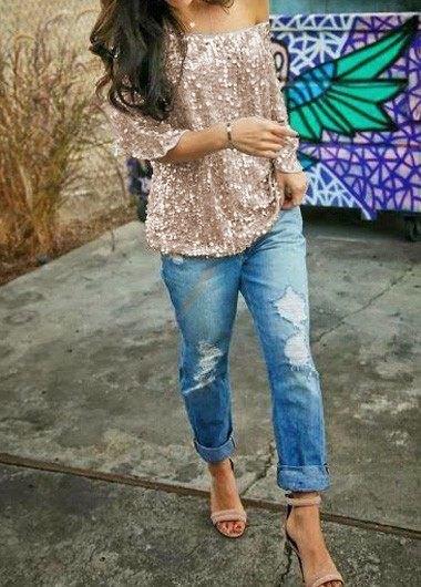 pink gold sequin a shoulder blouse with boyfriend jeans