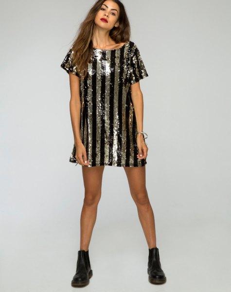 black and silver vertical striped metallic shirt dress