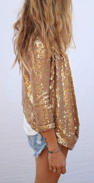 gold sequin oversized shirt with mini-denim shorts
