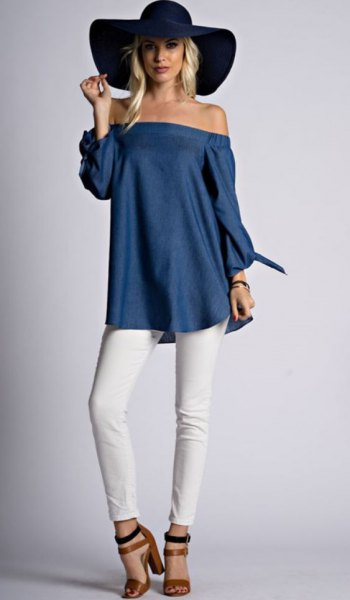 navy blue from the shoulder tunic blouse with black floppy hat