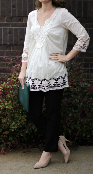 white lace long blouse with light pink heels