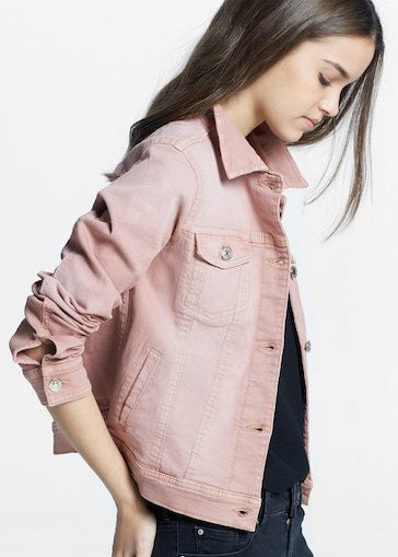 pink denim jacket with black tee and matching slim jeans