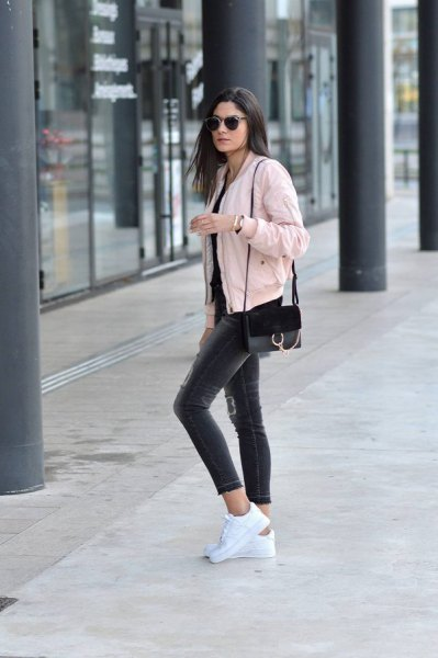 pink denim jacket with all black outfit
