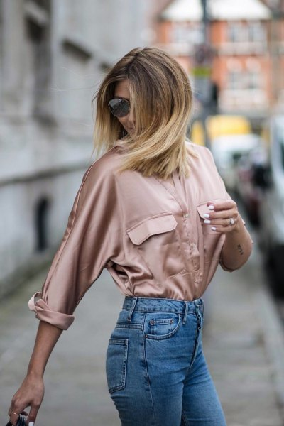 pink gold satin long sleeve shirt with mom jeans