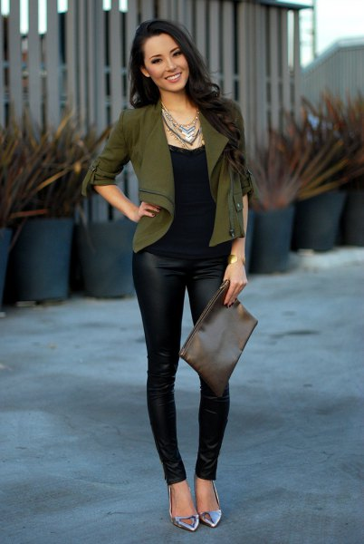 short mounted blazer with black leather legs