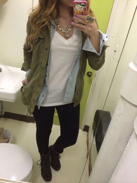 military jacket with olive with light blue comrade shirt