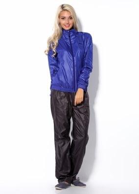 royal blue jacket with black nylon joggers
