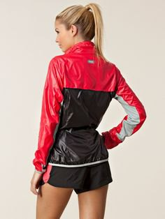 red and black color block nylon jacket with mini-shorts