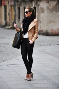 tank leather jacket with black faux fur scarf