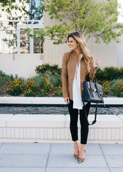tank long leather jacket with white tunic chiffon top