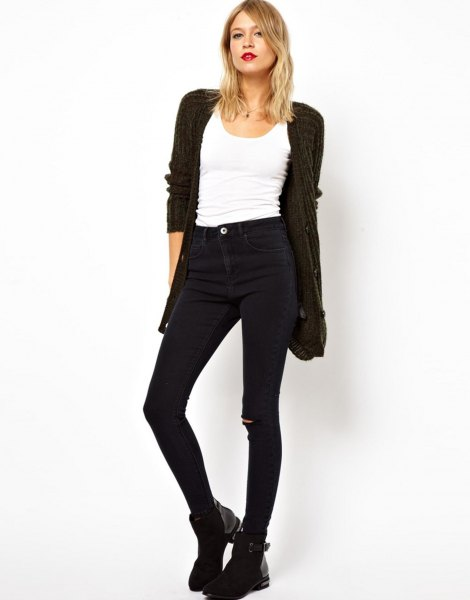 black cardigan with white top and high jeans