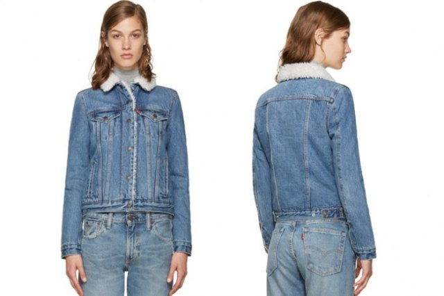 blue faux fur collar denim jacket with matching jeans