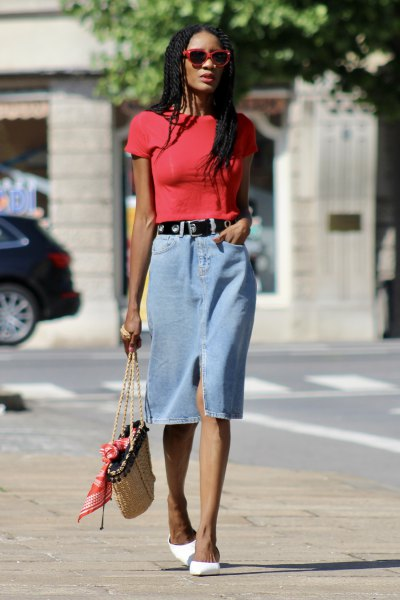 red t-shirt with midi light blue denim skirt