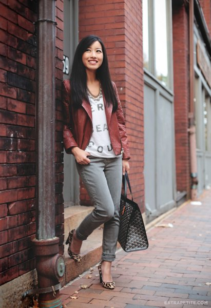 brown petite leather jacket with white v-neck printed blouse