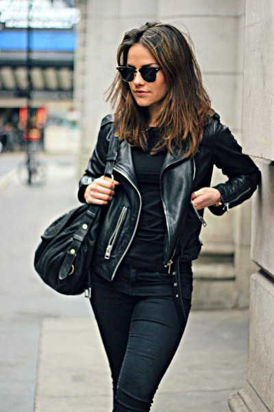motorcycle jacket with all black outfit