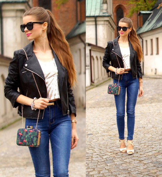 black petite jacket with blue skinny ankle
