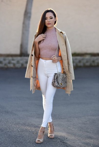 gray mock neck shape matching cropped sweater with white skinny jeans