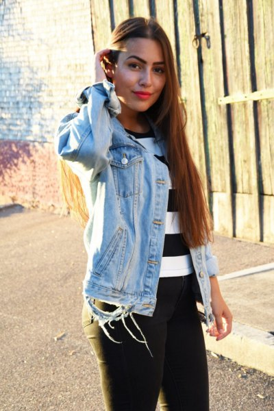 black and white striped sweater with denim jacket and jeans