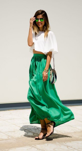 white cropped tee with green high waist skirt