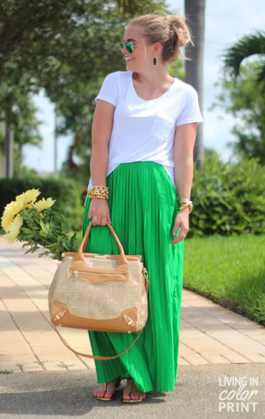 white t-shirt with lime green maxi-pleated skirt
