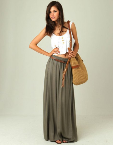 white cropped tank top with green long chiffon skirt