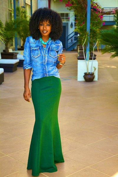black denim button shirt with mermaid green skirt