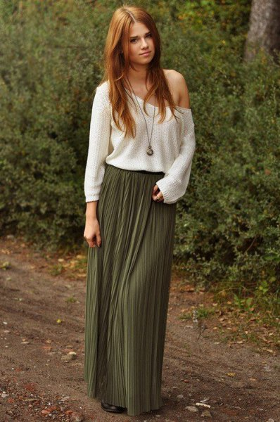 white shoulder sweater with pleated floor length skirt