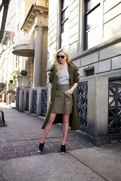 green long-line wool coat with miniskirt made of olive leather