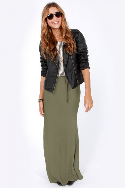 black moto leather jacket with maxi skirt with olive