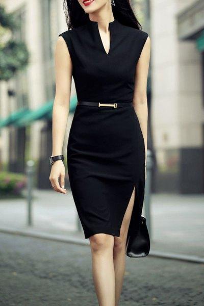Black Sleeveless Belt Knee Length Bodycon Wear Dress