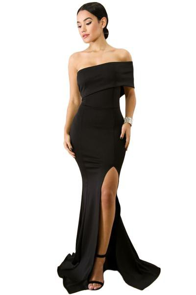 black from the length of the shoulder floor flowing wear dress
