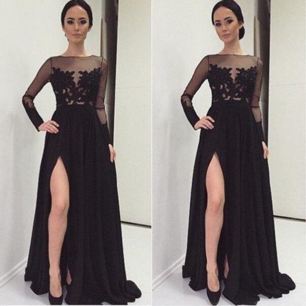 black half lace floor length slit dress