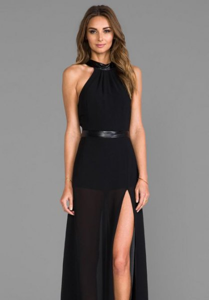 halter neck fit and flare belt maxi wear dress